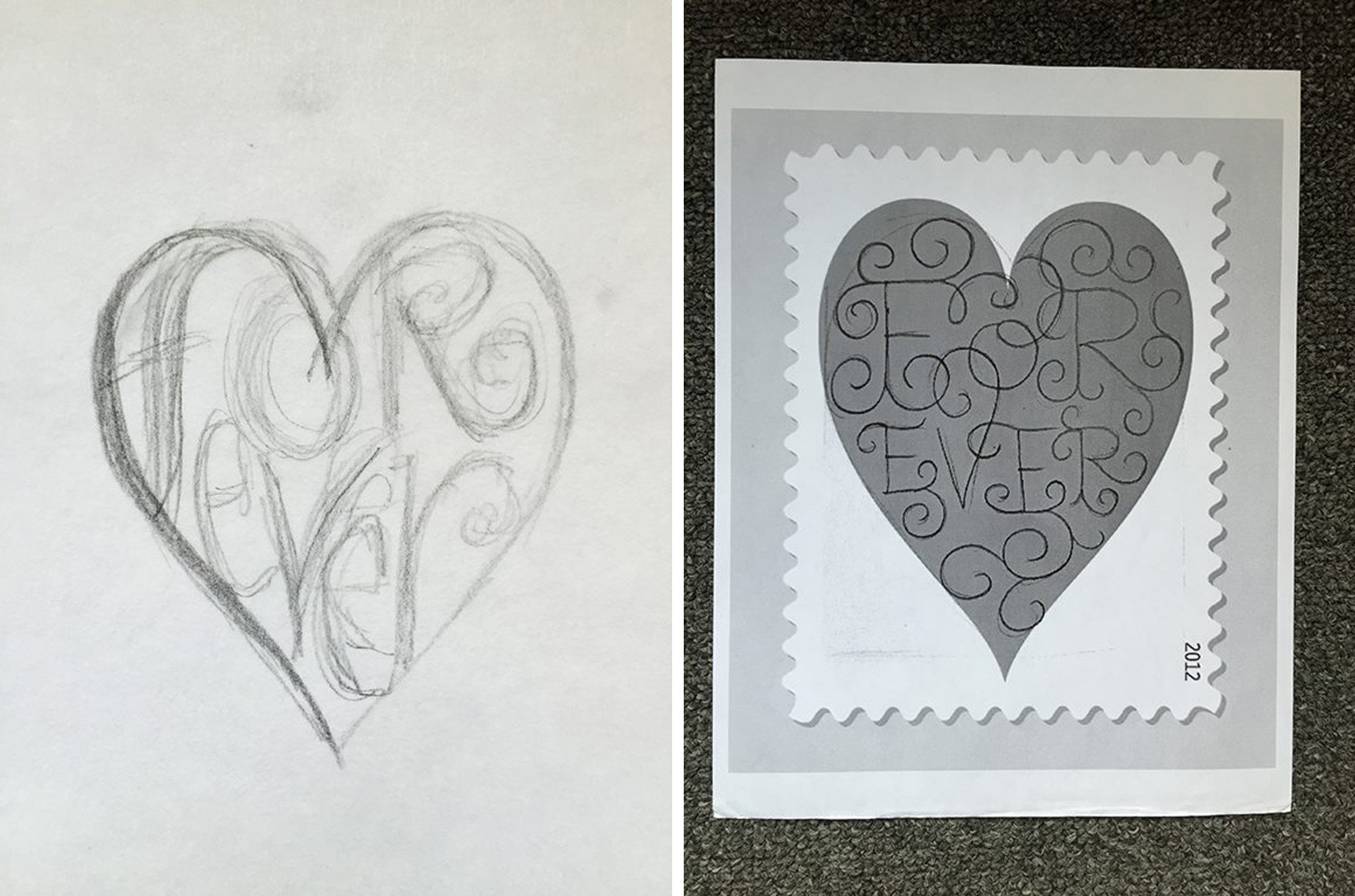 Sketch of Forever Hearts Stamp
