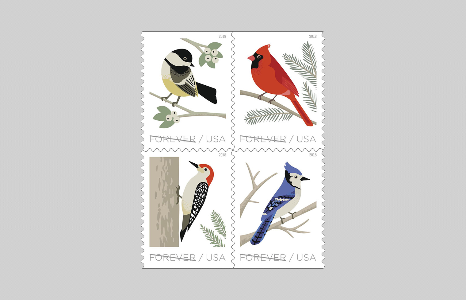 Birds in Winter Stamp