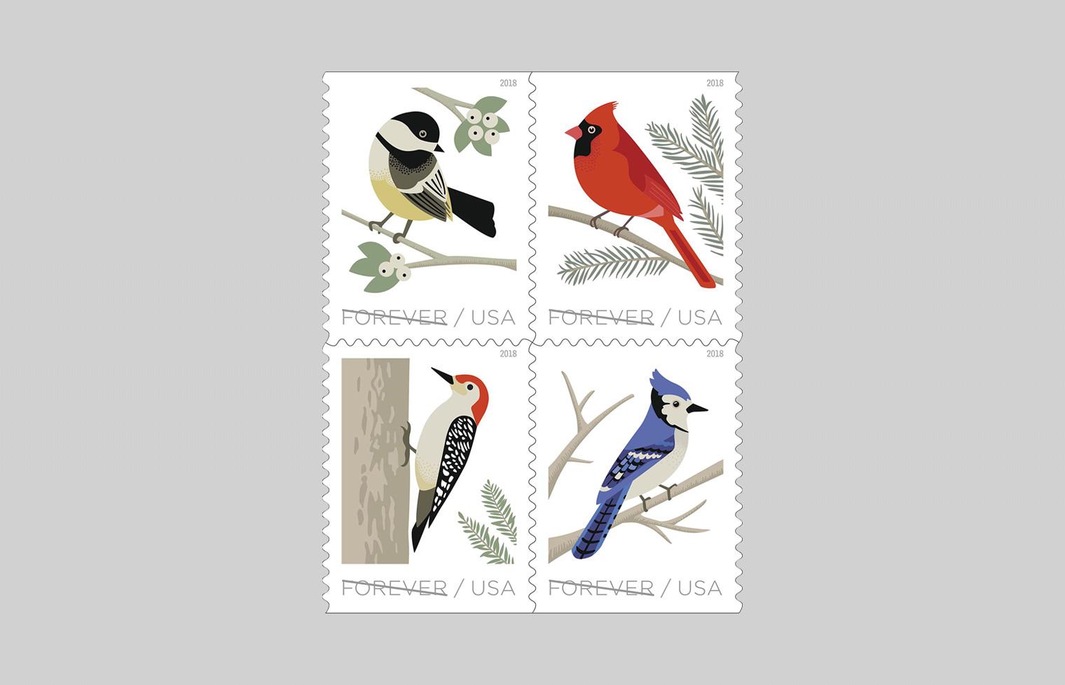 Birds in Winter Stamp