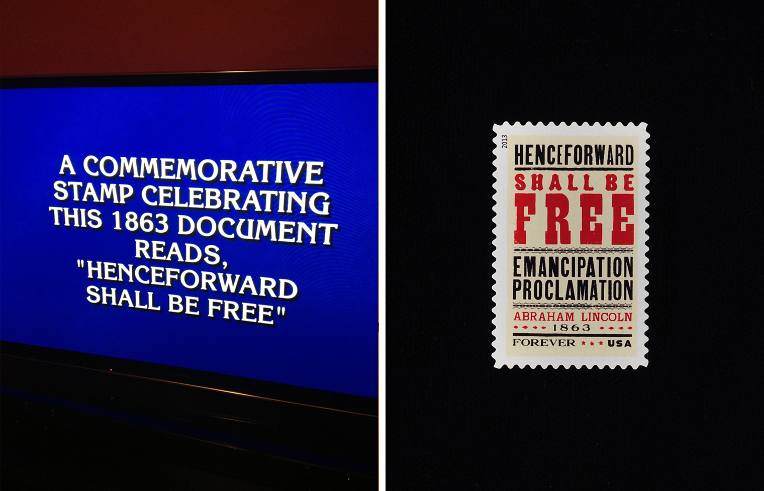 Emancipation Proclamation Stamp on Jeopardy!