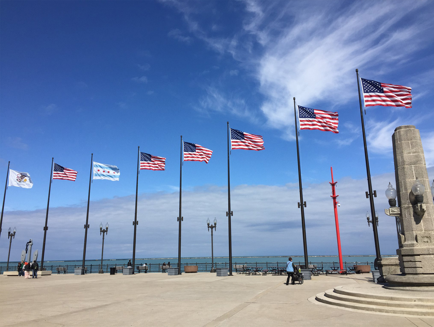 Flags on the Chicago Pier by Antonio Alcala