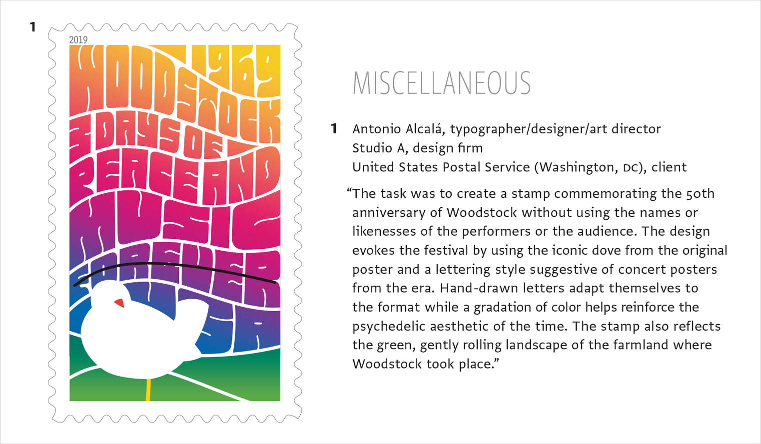Woodstock Stamp in Communication Arts Typography Annual 10