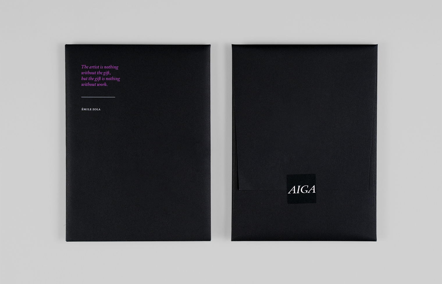 The back of each invitation wrapper is sealed with the AIGA logo.