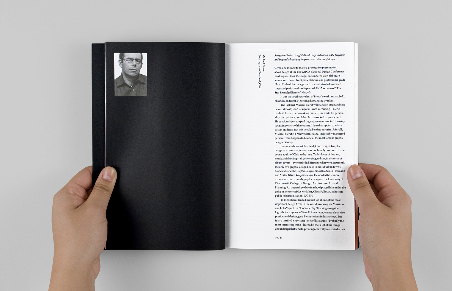 This spread features a profile of Michael Bierut, one of the honorees.