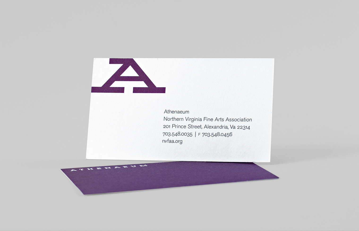 Business card featuring the visual identity of the Athenaeum for the Northern Virginia Fine Arts Association