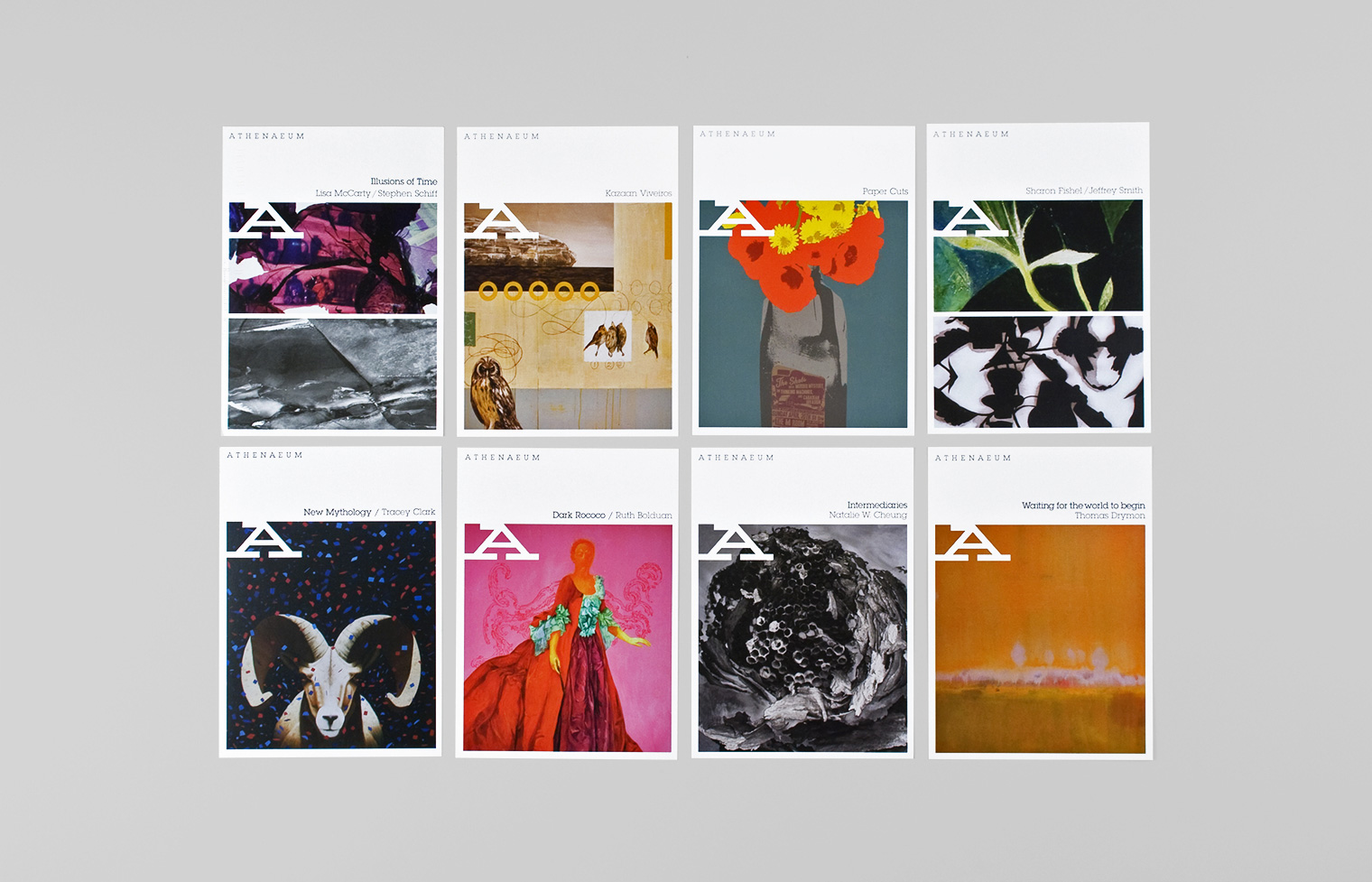 Eight announcement cards for different art exhibitions maintain a brand consistency.
