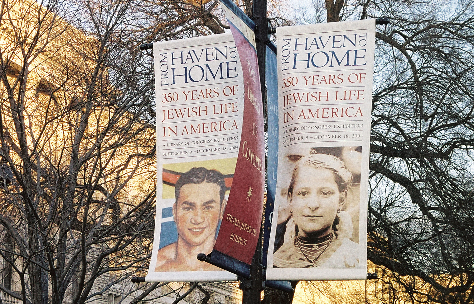 Lamppost banners.