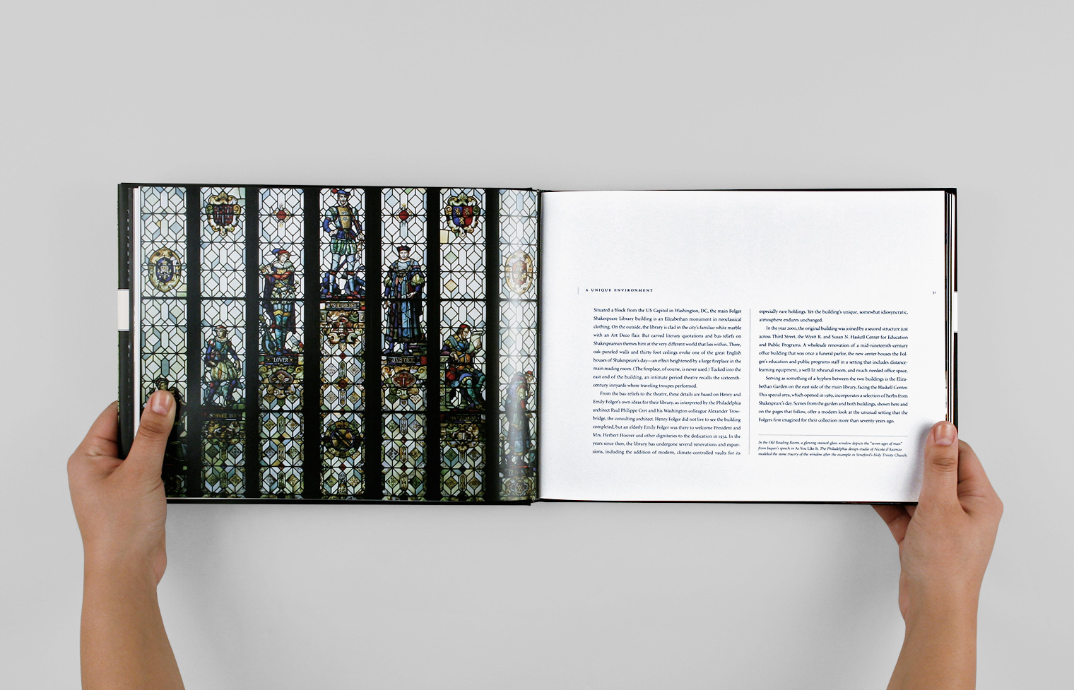 "Opening spread to a section discussing the Folger's buildings and garden features the ""Seven Ages of Man"" stained glass window."