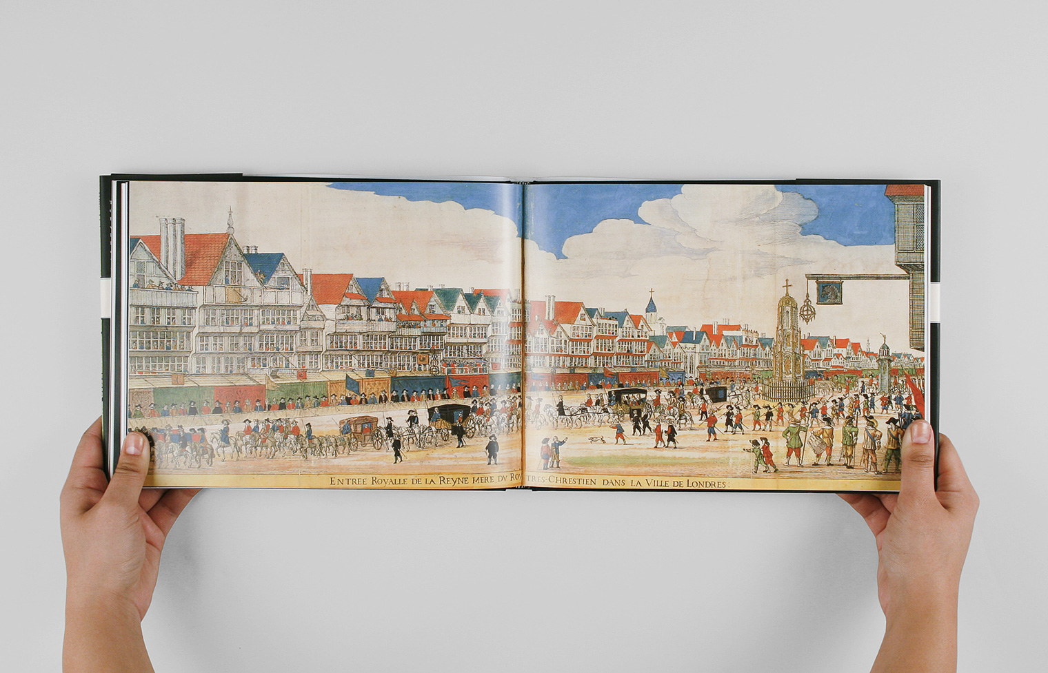 A detail of a hand-colored print shows Marie de Médici's visit to Cheapside London in 1639.