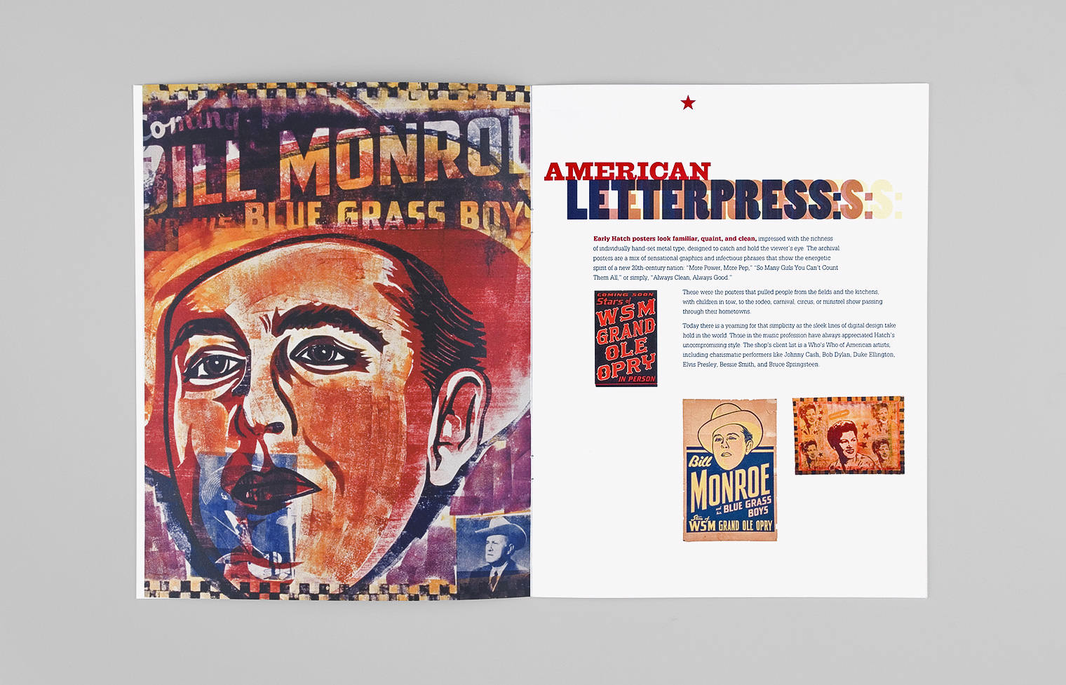 A spread from the exhibition prospectus shows old and new Hatch prints, wood type headlines, and text about the show.