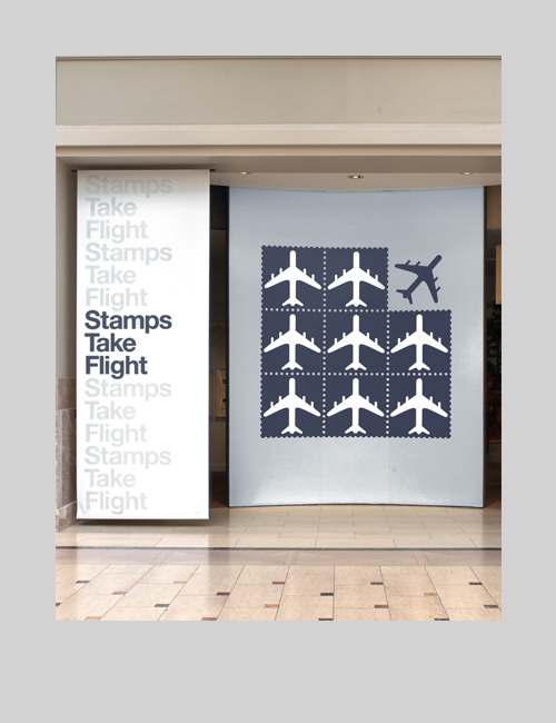 Thumbnail image of the Stamps Take Flight exhibition design for the National Postal Museum.