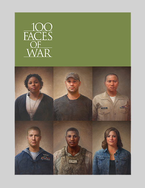 Thumbnail image of the cover for the invitation for the 100 Faces of War exhibition for the Smithsonian Institution Traveling Exhibition Service.