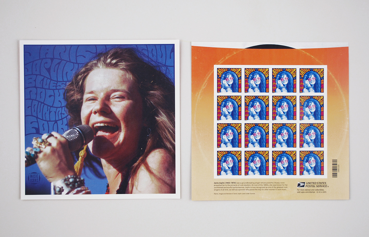 Musical Icons: Janis Joplin stamp sheet.