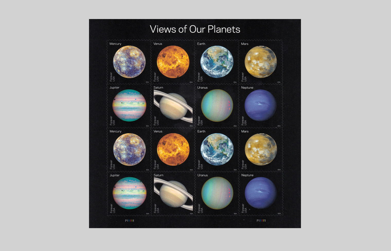 Views of Our Planets stamp sheet.