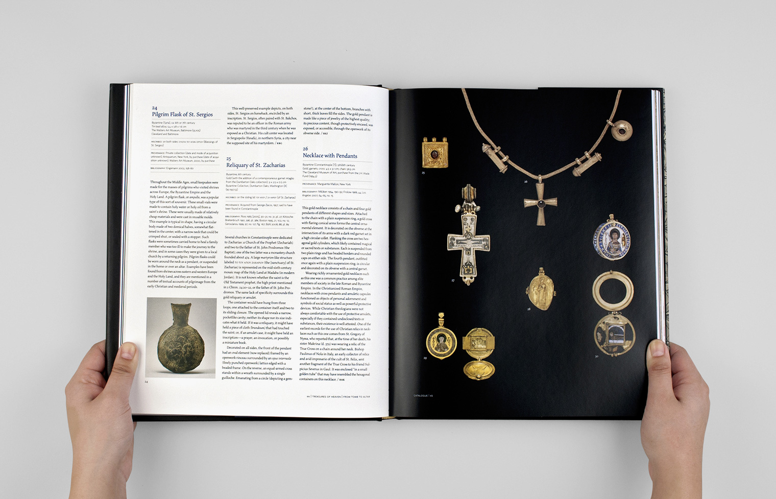 Catalogue entries share a spread with a page of pendant photos.