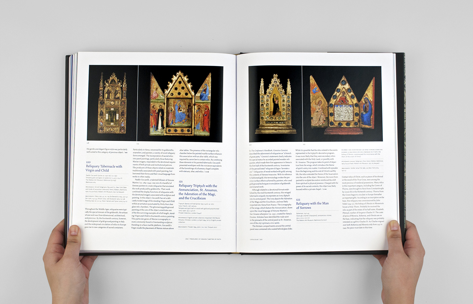Several similarly shaped reliquaries are featured on one spread.