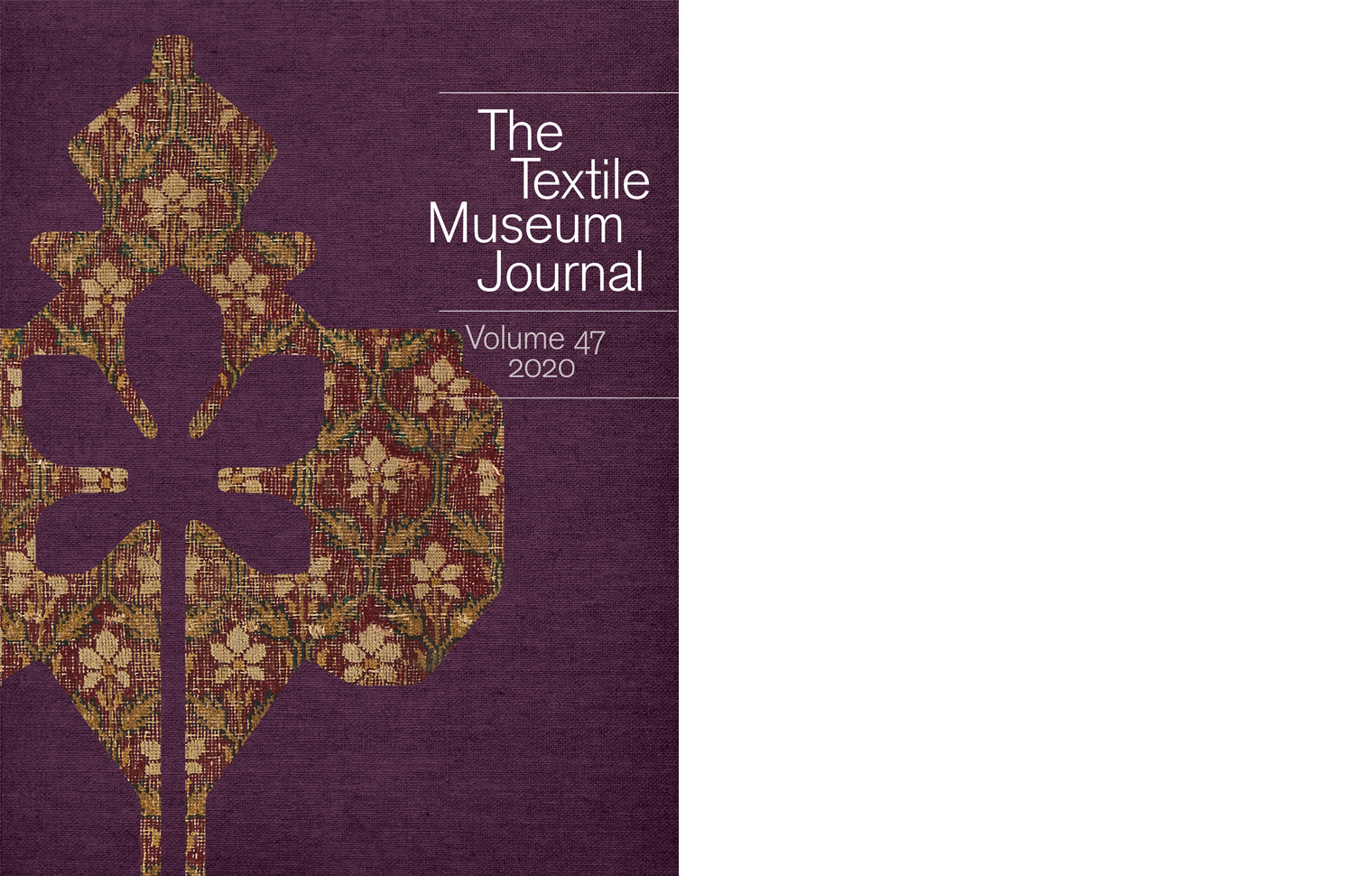 Cover of the Textile Museum Journal Volume 47 2020 featuring a textile detail motif on a textured background.