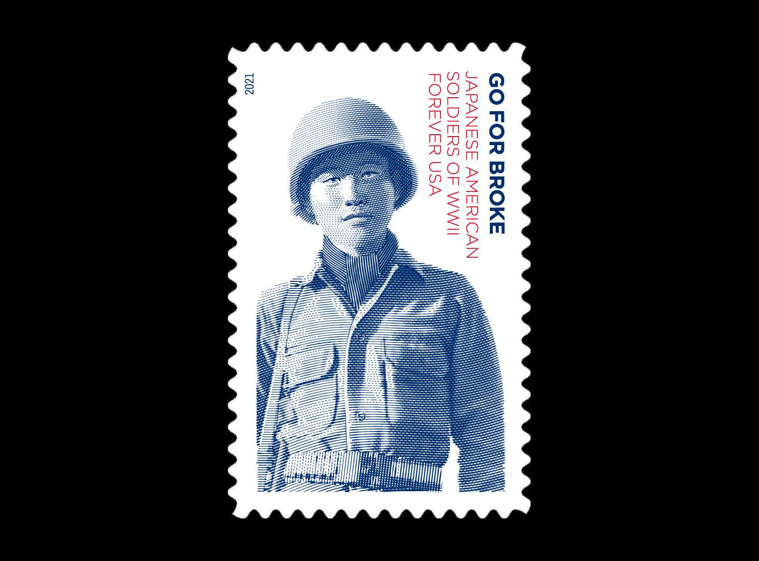 A stamp featuring a Japanese soldier of the 442nd Go For Broke regiment from WWII