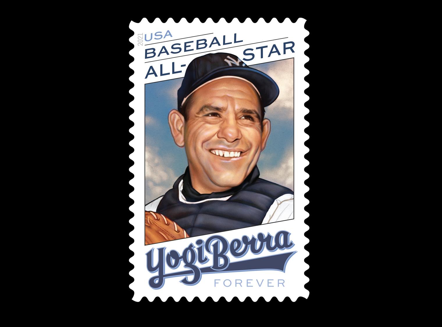 Stamp featuring an illustration of Yogi Berra, Baseball All=Star